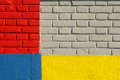 Wall with primary colors (Jan van der Wolf) Tags: map183173vv wall muur facade bricks bakstenen primarycolors red rood yellow geel blauw blue colors composition mondriaan