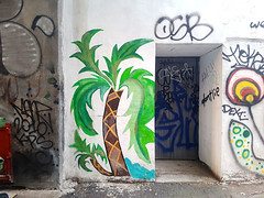 Palm Tree Painted on a Wall (Coastal Elite) Tags: mileend alley north parc avenue montreal ruelles ruelle alleys alleyway alleyways graffiti walking montréal streetart urban city life street art urbain mile end palmtree palm tree trees palmier palmiers tags tag