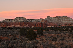 Grand Staircase Escalante - Pastel Evening Sky (Drriss & Marrionn) Tags: travel utah usa red landscape landscapes panorama mountains desert desertplains plains blue sky skies rock rockformation ridge cliff mountain grandstaircaseescalante gold soil canyon pasteleveningsky