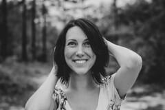 Joy (McManus Photography) Tags: woman hair dark girl beautiful beauty black white vintage smile face mouth lips eyes arms hands woods florida orlando nikon nikond5500 d5500 travel explore portrait portraits