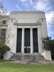 Grand Architecture (Melinda Stuart) Tags: morning egyptian uc campus academic academy science bioscience grand classical steps entry door sky clouds formal inscribed psychology griffon 1930 columns fluted capitals