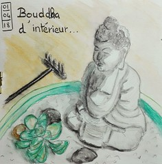 Bouddha d'intérieur. (cecile_halbert) Tags: crayon crayonsaquarellables dessin croquis esquisse carnet aquarelle watercolor sketching sketch draw drawing sketchbook artdiary artjournal watersolublepencils pencil bouddha stilllife