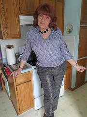 Pondering . . . (Laurette Victoria) Tags: pants redhead woman laurette kitchen housewife