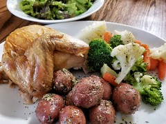 roast chicken and veggies (jeffreyw) Tags: chickendinner roasted potatoes mixedveggies steamed dinner salad
