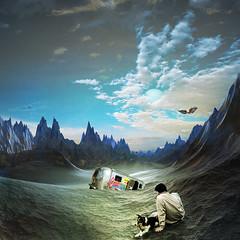 Hopes dissolved (jaci XIII) Tags: esperança solidão deserto pessoa homem águia pássaro ave montanhas carro hope loneliness desert person man bird eagle mountains car