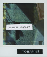 Instant message 0: starting out. (tobannemessages) Tags: polaroid time zero tz expired film sx70 tobanne instant messages starting out sticker slap graffiti urban street art text mixedmedia photography