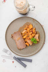 Brisket with sweet potatos and plums. (annick vanderschelden) Tags: beef beefbrisket slices plums sweetpotatoes spices pottery plate served tsimmes jewish hearty gravy parsnip cooking food pressurecooker hiughpressure boneless celery carrot oniion beefbroth cinnamon nutmeg allspice applecider pint stout foam parsley belgium