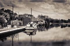 Hello Marylou (DavidHowarthUK) Tags: barnbydun southyorkshire may 2018 canal boat bw mono sepia