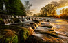 Sunset on the weir (peterwilson71) Tags: sunset river cascade clouds reflections beautiful exposure evening leaves foliage flow falls grass green light sky longexposure landscape motion nature outdoors rocks travel