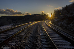 Cold Rails (Patrick Dirden) Tags: snow sunset dusk cold winter rail rails railroad sun light reflection