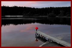Allemagne Forêt Noire (Schwarzwald) mai 2018 (roger gabriel simon) Tags: kirnbergsee schwarzwald allemagne germany lac lake eau water sea blackandwhite bnw bw canonpowershotg5x colors couleurs red rouge umbrella parapluie ponton flickr personne paysage landscape pier
