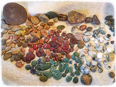 I tried to separate all the stones by color. A  lady at Moonstone Beach told me the white stones are actually the moonstones and the greens are jade. I think they are all beautiful. (PegPrice) Tags: rocks california moonstones