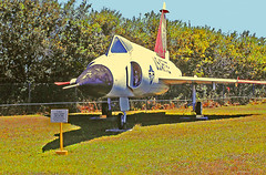 F-102A Delta Dager, USAF 56-0965, Clearwater Aircraft Museum, Clearwater, Florida (gg1electrice60) Tags: f102a ondisplay deltadagger usaf560965 f102deltadagger manufacturedbyconvair designedbyconvair builtbyconvair aircraftnumber560965 aircraftno560965 aircraft560965 clearwaterstpetersburgairport pie rooseveltboulevard rooseveltblvd pinellascounty florida fl unitedstates usa us america hangerclub fauxvillage fakevillage militaryplanes oldmilitaryairplanes aircraft airplanes jetplanes dualengineplane clearwaterstpeteinternationalairport nearcoastguardstation uscoastguard smallplanes usairforceplanes sign placard informationsign glasscanopy fuselagemountedengines signplacard convair deltawing nearbaysidebridge aviation vietnameraaircraft baysidebridge supersonicinterceptor