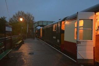 Class 20s 8001 & D8059 (20059 & 20001) at North Weald Station on a wet evening, about to work the 20.45 Beerex Special to Ongar. Epping Ogar Railway 28 04 2018