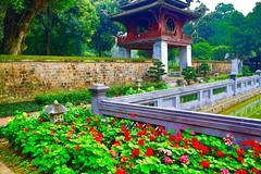 Temple de la Litérature, Hanoi, Vietnam. (Imagin.air) Tags: museum vietnam flowers decor trees