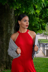 Oscany (QuarryClimber) Tags: outdoorportrait naturallight reddress brunette browneyes pretty beautiful female woman sonya7riii sony86mmgm amoskeagfalls classy elegant city urban