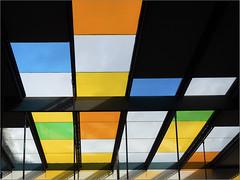 Colour blocking (Ulrich Neitzel) Tags: bahnhof colour colourful farbe farbig glasdach glassroof hamburg mzuiko1250mm metro ohlsdorf olympusem5 station ubahn