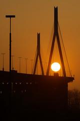 Köhlbrand Sunset (T.Seifer : )) Tags: evening architecture bridge cityscape dawn fx germany hamburg köhlbrandbrücke lines nikon outdoors outside photography pylon tourism view sunset sundown
