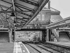 Shakespeare Goes Turbo (Jason_Hood) Tags: monochrome blackandwhite railway railroad station class172 turbostar
