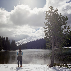 Elements (Aaron Bieleck) Tags: hasselblad500cm 120film analog 6x6 square film filmisnotdead hasselblad mediumformat wlvf fujipro160s sarah hiking winter snow lake toddlake mountain landscape outdoors pnw pacificnorthwest mtbachelor tree forest oreogn centraloregon bend deschutesnationalforest