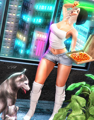 ◈№.426 - hungrrrrrry!! (Alica Jinx van Hell) Tags: vanilla bae addams blueberry catwa maitreya uber sl secondlife event pizza focus poses hungry girl dogs letre