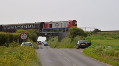 20227 heads towards Sheringham with a train from Holt. North Norfolk Railway 11 06 2016 (pnb511) Tags: northnorfolkrailway poppyline heritage preserved railway class20 diesel loco locomotive locomotives train road bridge cars