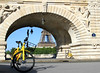 City Bikes (click100) Tags: canon7d city canon 24105mm paris parisvelo yellow bikes bridge eifel tower jaune bicyclette