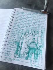 Kelso Abbey, Scotland (schunky_monkey) Tags: illustration art drawing draw sketchbook sketching sketch penandink ink pen fountainpen europe building architecture entry ruin church scotland abbey kelsoabbey