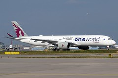 "Qatar Airways - A350-941, A7-ALZ ""Oneworld Livery"" (Bernd 2011) Tags: qatarairways qatar airbus a350 a350941 a7alz oneworld fra eddf canon powershot sx50hs aviation"