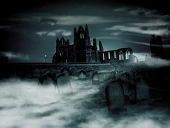 The Watcher's Ruin (Matt West) Tags: mist halloween church abbey cemetery graveyard fog bravo spirit vampire headstone ghost tomb gothic goth graves haunted spooky topv5555 demon topf150 whitbyabbey bramstoker topvaa favorites90 hammerhouseofhorror views4000 views5000 dracular p1f1 views10000 favorites100 diamondclassphotographer world100f megatopofthefog