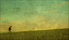 . 6 Studies From Magog Down . Pt.2 - The Uphill Path . (3amfromkyoto) Tags: sky man male grass walking dusk path magog hill down grasses six cambridgeshire studies pt2 magogdown utatafeature 3amfromkyoto flickr:user=3amfromkyoto