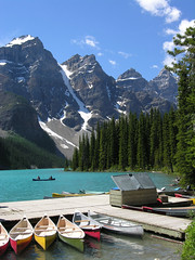 Moraine Lake (yewco) Tags: trees canada mountains colors boats glacier alberta banff lakelouise morainelake