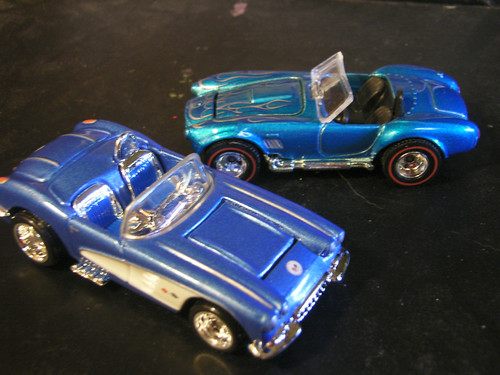 "Hot Wheels ""Ultra Hots"" 1958 Chevrolet Corvette and 1967 Shelby Cobra 427."