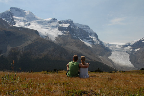 Hikers enjoying views of the Columbia Icefields from Wilcox Pass, Alberta, Canada by .Anton