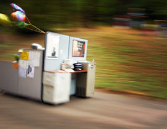 behind this speeding soapbox is a man in a cubicle (manyfires) Tags: oregon speed portland action humor cubicle pdx soapbox frontpage