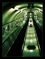 Tube (brunoat) Tags: green london station stairs underground subway metro escalator tube londres escaleras upwards brunoat 30faves30comments300views brunoabarca