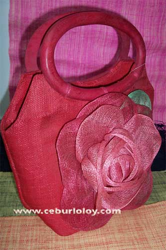 Sinamay (Red) tote bag with Rose flowre