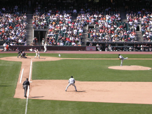 The Colorado Rockies playing a game.