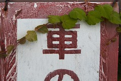 (gullevek) Tags: red white macro green sign japan writing geotagged tokyo branch rusty   leafs textured myeverydaylife canon30d canonef24105mmf4lisusm  geo:lat=35559039 geo:lon=139689746