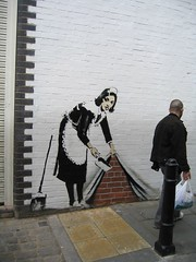 Banksy on wall outside White Cube Gallery, Hoxton - by Commonorgarden
