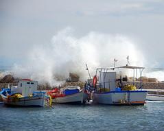Waves Crashing Over the Limanaki (RobW_) Tags: 510fav october waves 2006 spray greece photowalk caughtintheact fishingboats wal zakynthos breakwater tsilivi limanaki oct2006 17oct2006 limanakiview