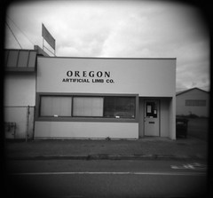oregon artificial limb co (a nameless yeast) Tags: portland holga fv10 neopan stumptown artificiallimb