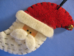 Ho-Ho-Homestyle Santa Ornament (misseskwittys) Tags: santa christmas red white beard country decoration ornament etsy homestyle handstitched gifttopper