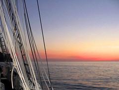 Sunset at Sea (martinhughes81) Tags: sunset sea sailing horizon ropes tallship rigging irishsea firsttheearth