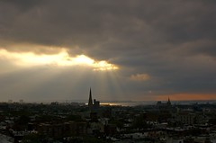 Crack in the sky (AMRosario) Tags: park nyc sunset storm church weather brooklyn clouds spires gothic slope godlight amrblog