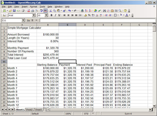 calculate mortgage excel