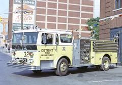 Detroit MI   Engine 32 (kyfireenginephoto) Tags: wlf pumper neon sign jefferson motor city brick ad 1982 michigan green truck wolverine moving dfd ward lafrance lime storage 1976 mi fire rust japan allied van lines wall hose