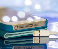"DSC_1128-1  ~ MACRO MONDAYS"" ~  ""PLUGS AND JACKS""  ~  ""4/30/18""  ~ (Travlin/Cindy1) Tags: macro macromondays mondays cellphone cell phone plug jack bokeh reflection blue"