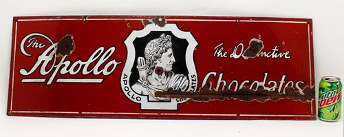 Antique Apollo Chocolate Porcelain Sign ($134.40)
