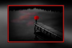 Schwarzwald - Kirnbergsee - mai 2018 - v2 (roger gabriel simon) Tags: water eau schwarzwald kirnbergsee deutschland canonpowershotg5x allemagne germany blackforest foretnoire lac montagne ponton sunset coucherdesoleil red rouge noiretblanc blackandwhite parapluie monochrome umbrella nature colors couleurs clouds nuages naturephotography art lake bnw bw flickr reflection